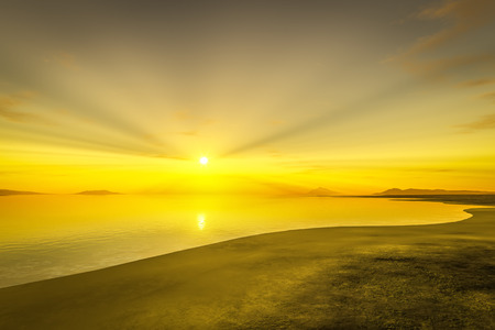 horizon over water: 3d rendering of a sunset over the ocean Stock Photo