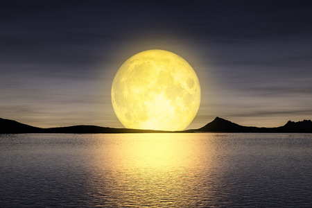 3d rendering of a moon rising over the sey Standard-Bild