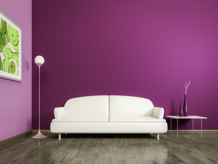 3d rendering of a purple room with a white sofa Reklamní fotografie