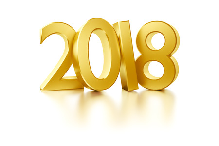 3d rendering of the golden number 2018 for new year holidays Stock Photo