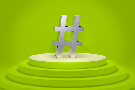 3d rendering of a green podium with a hashtag Stock Photo