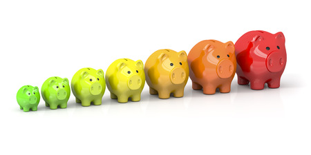 3d rendering of some piggy banks in different colors for energy efficiency