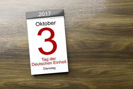3d rendering of a calendar the 3rd of October Day of German unity text in german language Imagens