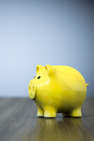 3d rendering of a yellow piggy bank background