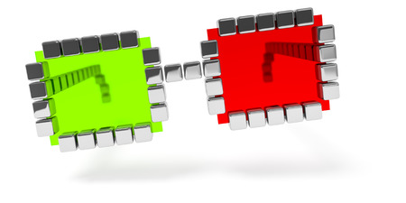 3d illustration of an abstract red green glasses icon