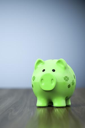3d rendering of a green clover piggy bank background