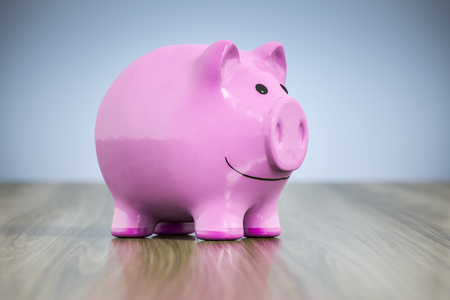 3d rendering of a typical pink piggy bank with a smile