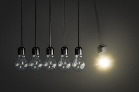 3d rendering of a pendulum of light bulbs