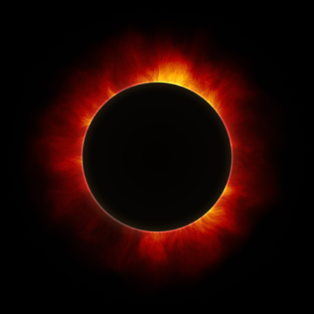 2d illustration of the beginning of a solar eclipse Stock Photo