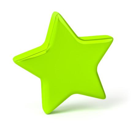 3d illustration of a stylish green star Reklamní fotografie