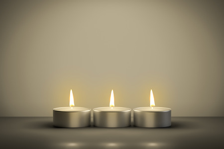 advent candles: 3d illustration of three typical tealights with space for your content Stock Photo