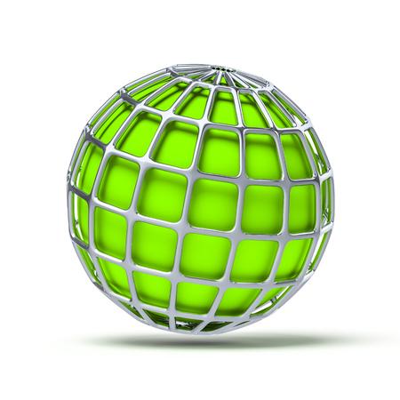 globe grid: 3d illustration of a green globe ball