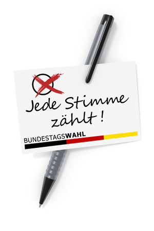 3d rendering of a business card and a ball pen and the text federal Elections each vote counts in German language Stock Photo