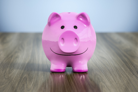 cash: 3d rendering of a typical pink piggy bank with a smile