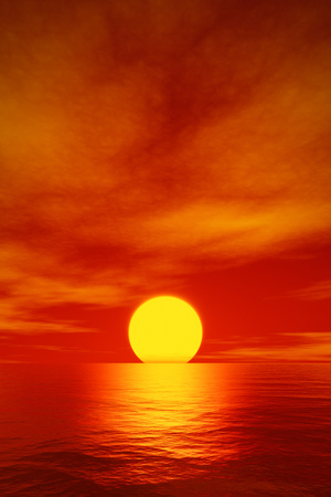 3d rendering of a big beautiful red sunset over the ocean Stock Photo
