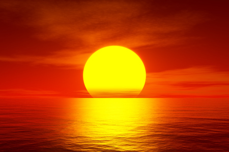 horizon over water: 3d illustration of a red sunset over the ocean Stock Photo