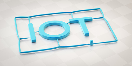 3d illustration of a plastic injection molding word iot Reklamní fotografie