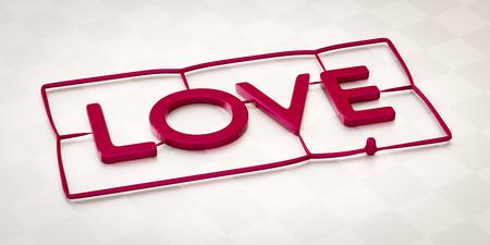 3d illustration of a plastic injection molding word love Reklamní fotografie - 87942602