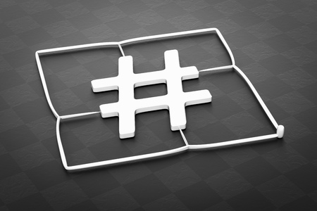 3d illustration of a plastic injection molding hashtag sign