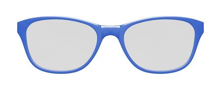 3d illustration of blue glasses on white background