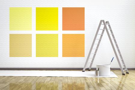 3d illustratie van een ruimte met zes verschillende te kiezen kleuren op de muur Stockfoto