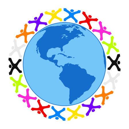business graphics: Illustration of some stylized people building a circle around the earth america