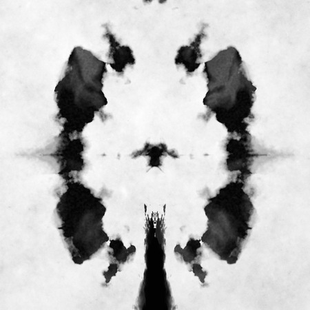Illustration of a typical black and white Rorschach test Stock Photo