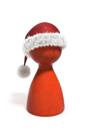 3d illustration of a red christmas pawn isolated on white