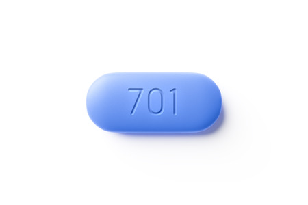 3d illustration of a typical PrEP pill with the number 701