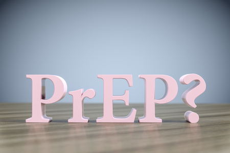 3d illustration of the letters PrEP? on a wooden table