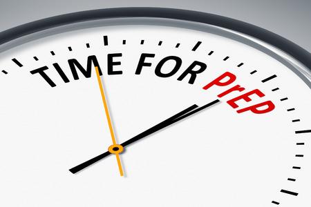 Una ilustración de un reloj típico con tiempo de texto para PrEP Foto de archivo
