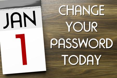 1月1日のカレンダーの3Dイラストがパスワードを変更