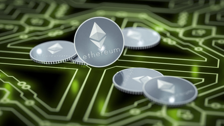 3d rendering of a some ethereum coins on a dark electronic background Stock Photo