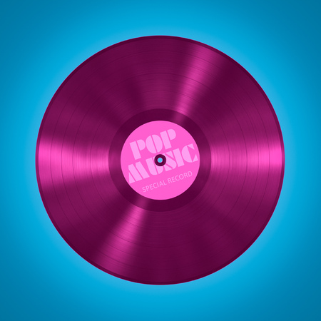 An illustration of an old vinyl record pop music Stock Photo
