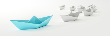 3d illustration of a blue boat and some white