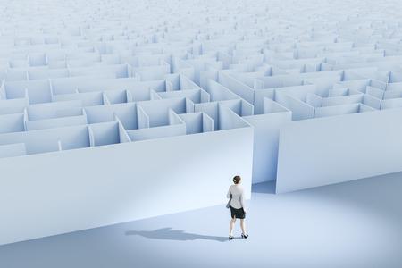 迷路でのビジネスウーマンの3Dイラスト