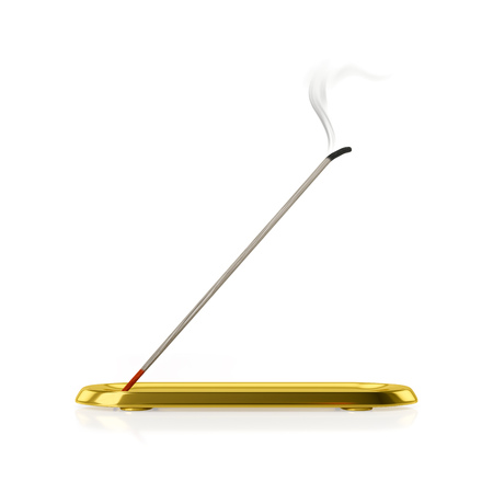 3d illustration of a incense stick with golden tray Stock Photo
