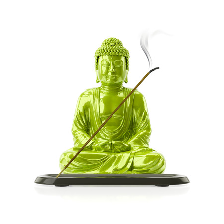 3d illustration of a Buddha with a incense stick