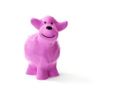 3d illustration of a sweet little pink ceramic sheep
