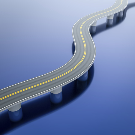 3d illustration of a winding road bridge over the sea