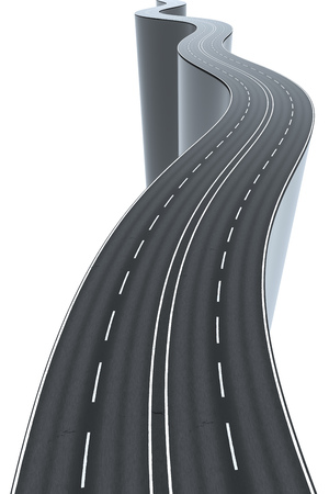 3d illustration of a winding road high and risky