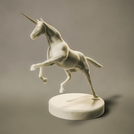 3D Darstellung einer schönen Marmor Einhorn Figur Standard-Bild - 96308297