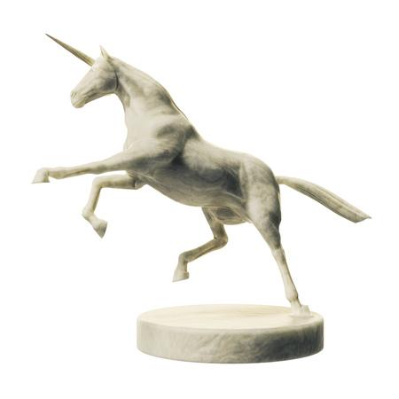 3D Darstellung einer schönen Marmor Einhorn Figur isoliert auf weißem Hintergrund Standard-Bild - 96327164