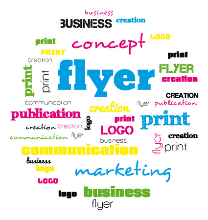 Illustration of a tag word cloud for flyer and logo design