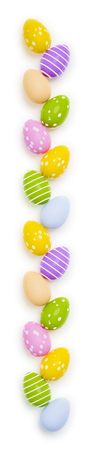 3d illustration of a row of colored easter eggs Stock Photo