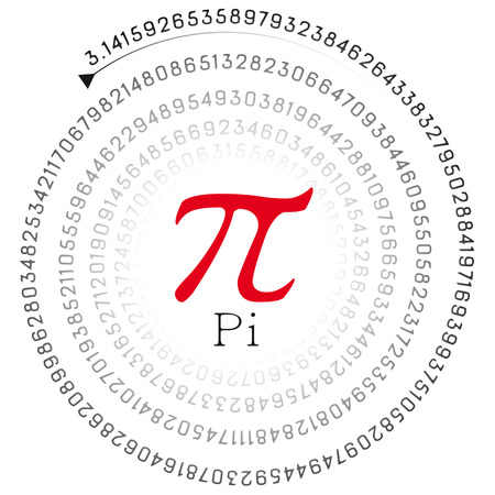 Illustration of a red pi sign and the number in spiral form
