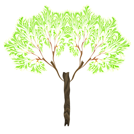 Illustration of a fractal tree isolated on white