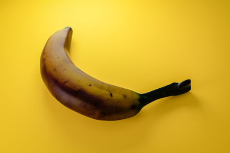 3d illustration of an old brown banana