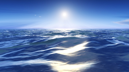 3d rendering of the sun over the wild sea
