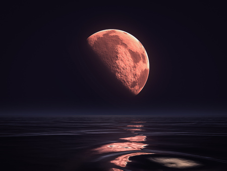2d illustration of a red moon rising over the ocean Stock Photo